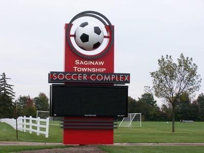 The welcoming sign for the Saginaw Township Soccer Complex in Saginaw, Michigan