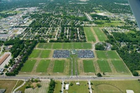 An aerial view of the 22 fields comprising the Saginaw Township Soccer Complex in Saginaw, Michigan