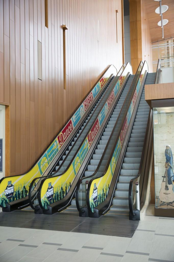 Women's NCAA Basketball Final Four, Tourney Town escalator graphics