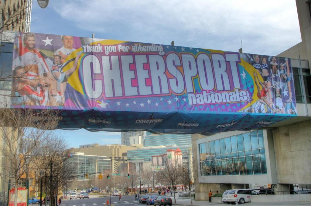 Cheer Sport mesh banner tunnel wrap 75' x 85'