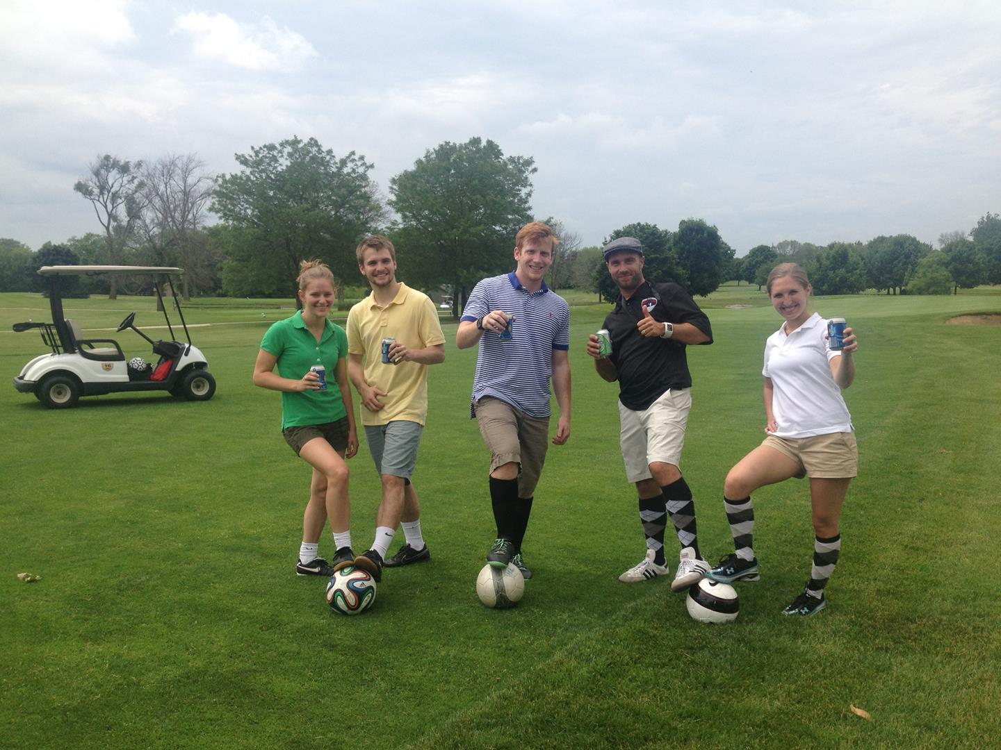 Cheers to Carlos Strem second from right) for a great day of FootGolf.