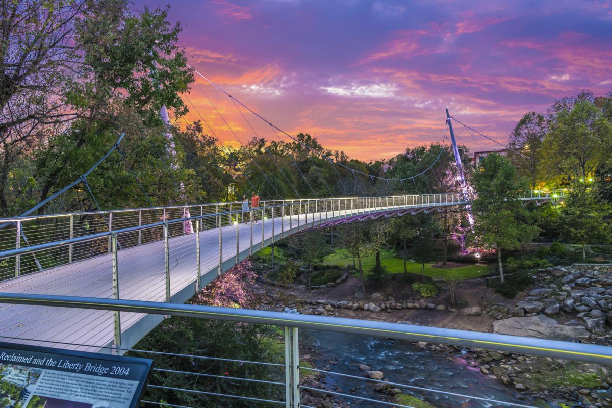 Sunset at Falls Park on the Reedy and the Liberty Bridge