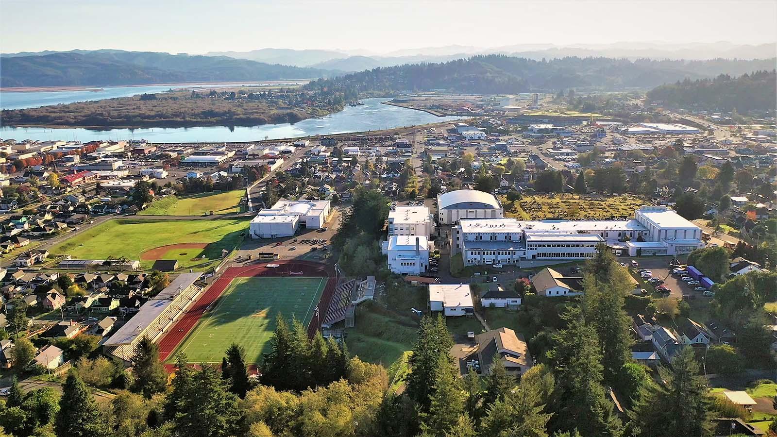 Aerial view of Marshfield High School