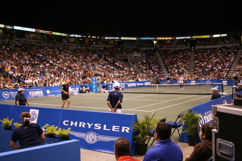 A-frame tennis court