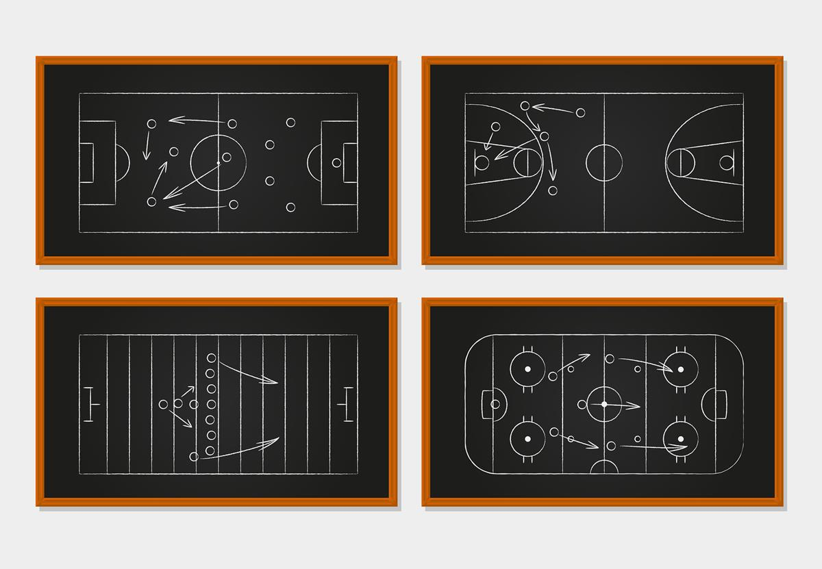 Basketball, soccer, football and ice hockey courts on chalkboard