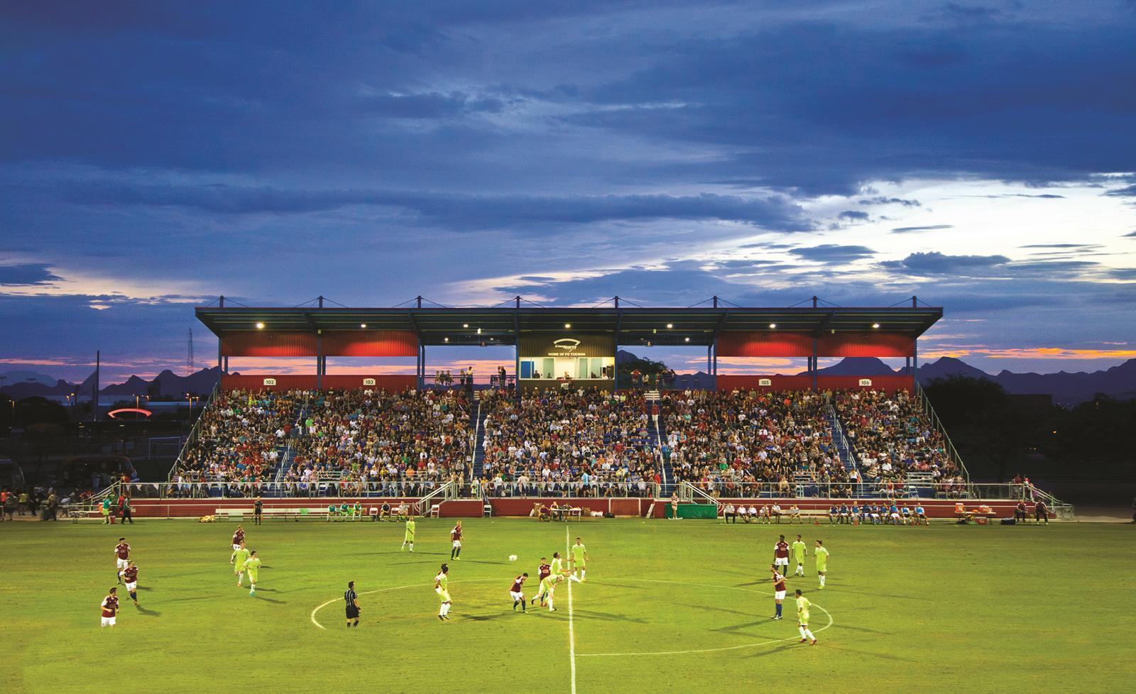 Photo of the North Complex Stadium taken during a FC Tucson soccer game held at the Kino Sports Complex on July 4, 2014.