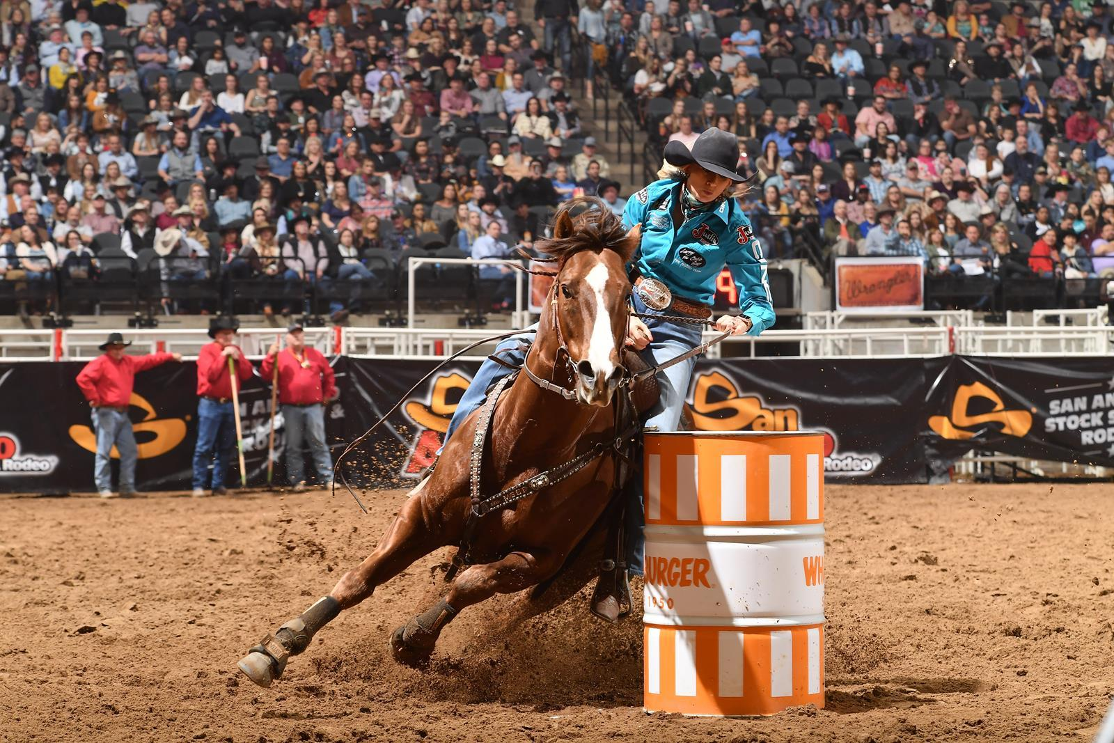 Barrel Racer Shali Lord competes at the San Antonio Stock Show & Rodeo